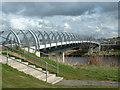 NS3219 : River Doon Millennium Bridge, Ayr by Oliver Dixon