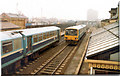 NZ3957 : Trains passing at Monkwearmouth Station Museum, 6th April 1987 by Martin Routledge