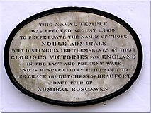 SO5212 : Plaque on the Naval Temple nr Monmouth by Stuart Wilding