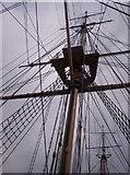 TQ7569 : HMS Gannet rigging at Chatham Historic Dockyard by Alex Walton-Keeffe