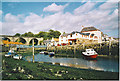 NO4102 : Lower Largo, Old Railway Viaduct, Harbour and Crusoe Hotel. by Colin Smith