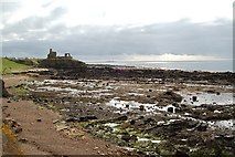 NO5101 : St Monans Castle and shore by Jim Bain