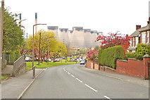 SE4824 : Ferrybridge village, Ferrybridge Power Station in the background by Gordon Kneale Brooke