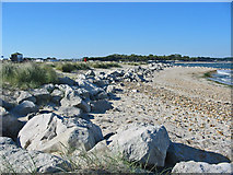 SZ1891 : Beach dune defences Mudeford spit Dorset by Clive Perrin