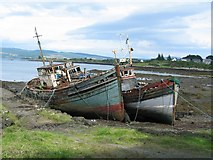 NM5643 : Boats at the old pier, Salen by John Allan