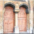 TQ3477 : Carved church doors, Glengall Road by Stephen Craven