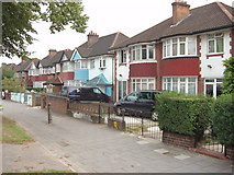 TQ2081 : Houses and shared cycle path, Western Avenue, North Acton by David Hawgood