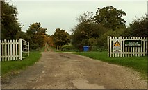 TL7448 : Road to Hundon Thicks Farm, Hundon, Suffolk by Robert Edwards
