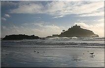 SW5130 : St Michael's Mount in a gale by Bob Jones