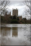 SO8832 : Tewkesbury Abbey surrounded by flooding by Philip Halling