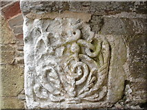 SX5646 : Carved stone, Revelstoke church by Judith Green