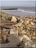 SZ1790 : Planks washed ashore, Hengistbury Head by Jim Champion