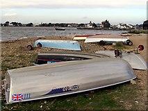 SZ1891 : Upturned boats on Mudeford Spit by Jim Champion