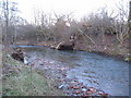 NY4154 : Storm damage on the River Petteril by Phil Williams