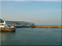 TR3341 : Looking back at the white cliffs on a boat leaving Dover East Docks by lis blamire