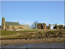 NU1241 : The Priory and church on Holy Island by Mel Evans