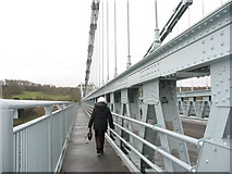 SH5571 : Pedestrian walkway on Pont y Borth (Pont Menai) by Eric Jones