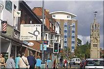 SP2871 : Kenilworth street scene and clock tower looking northwest by Tony Wheeler