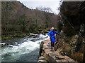 SH5946 : Fishermans path in Aberglaslyn pass by John Lynch