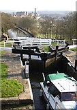 SE1039 : Another view down the five-rise locks, Bingley by Humphrey Bolton