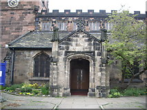 SJ8588 : Porch of St Mary's The parish Church of Cheadle. by Alexander P Kapp