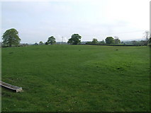 SJ2734 : Field with steam from Chirk in the distance. by Jeff Tomlinson