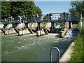 SP4307 : Weir behind Pinkhill Lock by Paul Thomas