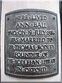 SX8060 : Plaque on Ann Ball's house by Phil Williams