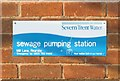 SK6414 : Sign on Rearsby Sewage Pumping Station by Andrew Tatlow