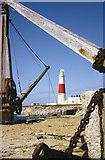 SY6768 : Portland Bill Lighthouse & Quarry Crane by John Wray