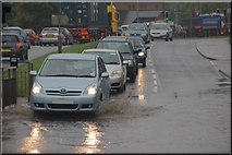 J2764 : Partly flooded road, Lisburn by Albert Bridge
