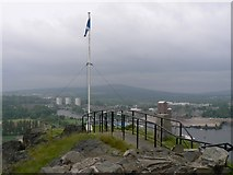 NS3974 : Flag Pole & Trig Point on Dumbarton Rock by Patrick Pavey
