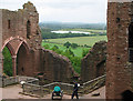 SO5719 : Goodrich Castle walls and view beyond. by Pauline E