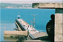 SY6878 : Weymouth: searchlight and South Pier by Chris Downer