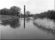 SP7290 : Factory chimney near Bridge 8, Market Harborough branch, Grand Union Canal by Dr Neil Clifton