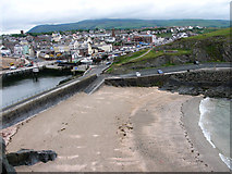 SC2484 : Fenella beach and Peel town from the castle walls by Chris Gunns