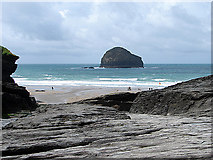 SX0486 : The Beach at Trebarwith Strand by John Lucas