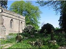 SK2441 : Churchyard at Brailsford Church by Clive Woolliscroft