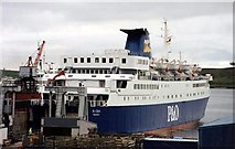 HU4642 : P&O ferry St Clair (V) at Lerwick,1994 by Anthony Eden