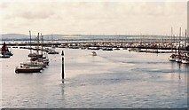 SZ3394 : Looking down Lymington Harbour towards the Isle of Wight by Chris Downer