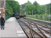 SD3787 : Haverthwaite Steam Railway locomotive arriving at Lakeside Station by Keith Burroughs