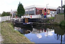SE1537 : Canal Boat - Swing Bridge - Leeds and Liverpool Canal at Shipley by Betty Longbottom