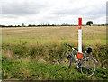 SE7128 : Gas pipe line marker post (and bike). by Steve  Fareham