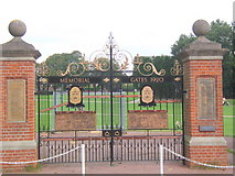 TM0458 : Memorial gates, Stowmarket by Andrew Hill