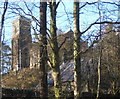 NY3603 : View of church through the trees by Andrew Hill