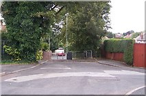 SO9096 : Barrier at the end of Coton Road by Annette Randle