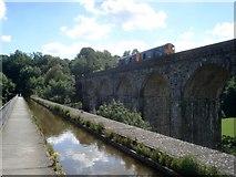 SJ2837 : Train on the Chirk viaduct by Trevor Rickard