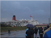 NZ3668 : QE2 leaving the Tyne. by Gill Armory