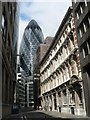TQ3381 : City of London: Billiter Street  and the Gherkin by Chris Downer