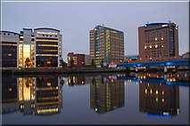 J3474 : Evening reflections on the River Lagan, Belfast by Albert Bridge